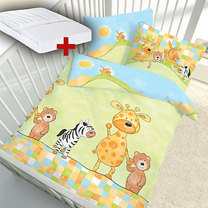 Zoom: Erwin Müller 3-pc toddler duvet cover set, animal