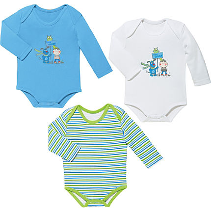 Zoom: Jacky Baby Interlock-Jersey Body langarm im 3er-Pack