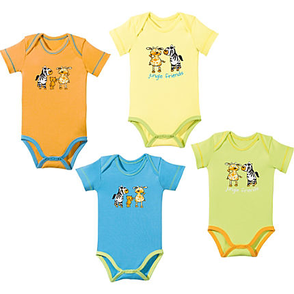 Zoom: Baby Butt Interlock-Jersey Body Kurzarm im 4er-Pack