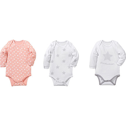 Zoom: Erwin Müller Single-Jersey Baby-Body Langarm im 3er-Pack