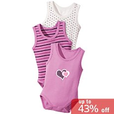 Baby Butt sleeveless bodysuits, 3-pk