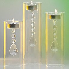 Crystal candle holders, 3-parts