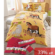 Kinderbutt 6-pc bedding & towel set, horse