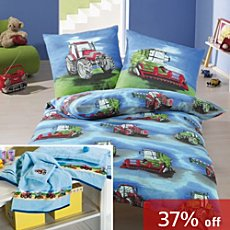 Kinderbutt 7-pc bedding & towel set, tractor
