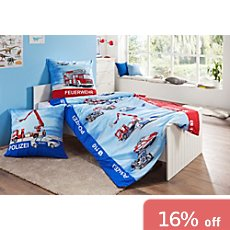Kinderbutt Renforcé duvet cover set, firefighters & policemen