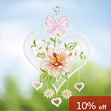 Pack of 2 Plauener Stickerei  window hearts