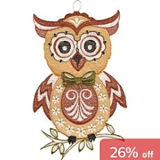 Plauener Spitze® window decoration, owl