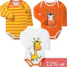 Baby Butt 3-pk long sleeve bodysuits