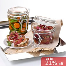 Pack of 12  clip top glass jars