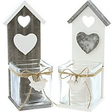 2-pk candle holders bird house