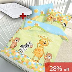 Kinderbutt 3-pc toddler duvet cover set, animal