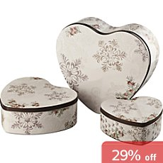 Pack of 3 heart-shaped Hutschenreuther cookie boxes
