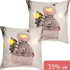 2-pk REDBEST LED cushion covers snowman