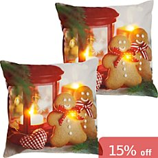 2-pk REDBEST LED cushion covers gingerbread man