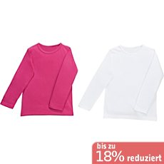Kinderbutt Single-Jersey Langarmshirt im 2er-Pack