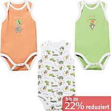 Baby Butt Interlock-Jersey Body ohne Arm im 3er-Pack