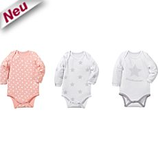 Baby Butt Single-Jersey Body Langarm im 3er-Pack
