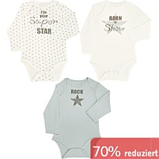 Interlock-Jersey Baby-Body, Langarm im 3er-Pack