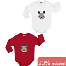 Boley Interlock-Jersey Baby-Body, Langarm im 2er-Pack