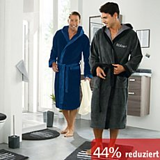 Softvelours Herren-Bademantel mit Kapuze
