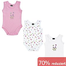 Boley Interlock-Jersey Baby-Body, ohne Arm im 3er-Pack