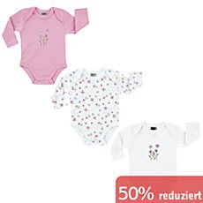 Boley Interlock-Jersey Baby-Body, Langarm im 3er-Pack