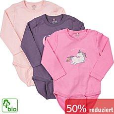 Me too Interlock-Jersey Bio Baby-Body, langarm im 3er-Pack