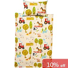Kinderbutt cotton flannel duvet cover set, farmyard