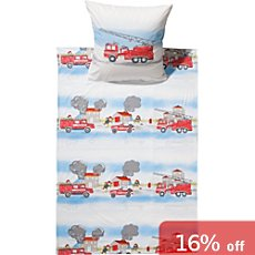Kinderbutt cotton flannelette duvet cover set, firefighters