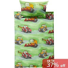 Kinderbutt 3-pc cotton flannel duvet cover set, tractor