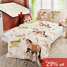 Kinderbutt 3-pc cotton flannel duvet cover set, horse