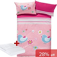 Erwin Müller girl´s 3-pc duvet cover set, bird