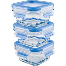 Emsa  3-pc glass food container set, Clip & Close