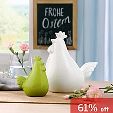 2-pack porcelain Easter decoration hens