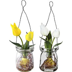 2-pack artificial tulips in hanging glasses