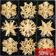 27-pc Christmas hanging straw stars