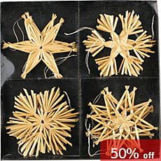12-pc Christmas hanging decoration straw stars