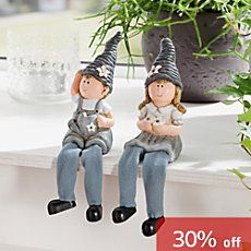 2-pc shelf sitter set boy & girl