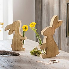 2-pack wooden rabbits with vases