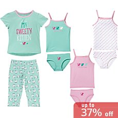 Erwin Müller single jersey 8-piece girls pj & underwear set