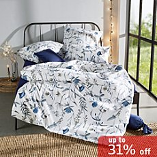 Erwin Müller percale-seersucker duvet cover set