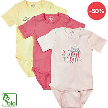 Me too Interlock-Jersey Bio Baby-Body kurzarm im 3er-Pack