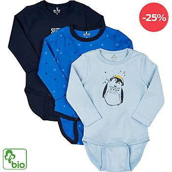 Me Too Interlock-Jersey Bio Baby-Body im 3er-Pack