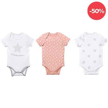 Erwin Müller Single-Jersey Baby-Body Kurzarm im 3er-Pack