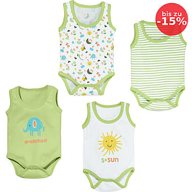 Erwin Müller Interlock-Jersey Baby-Body ohne Arm im 4er-Pack