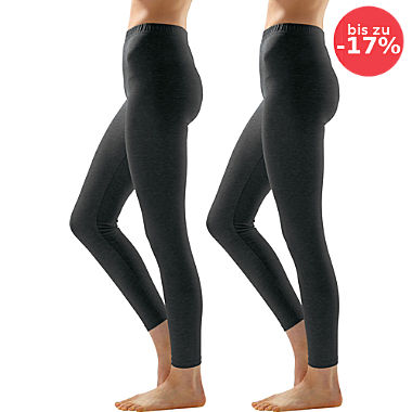 Erwin Müller Single-Jersey Damen-Leggings, lang im 2er-Pack