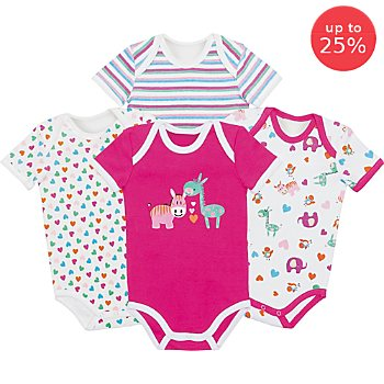 Pack of 4 Erwin Müller short sleeved bodysuits