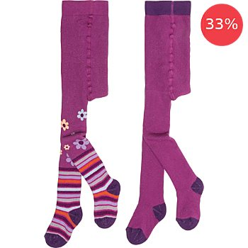 Pack of 2 terry thermal tights, flowers