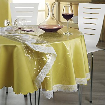 wipe-clean clear tablecloth protector