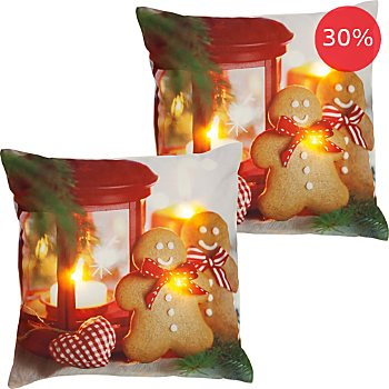 2-pack REDBEST LED cushion covers gingerbread man